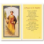 St. Stephen - Holy Card.  Holy Card Plastic Coated. Picture is on the front, text is on the back of the card.