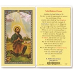 St. Isidore -  Holy Card.  Holy Card Plastic Coated. Picture is on the front, text is on the back of the card.