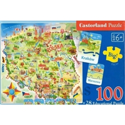 Castorland Education is a series of educational jigsaw puzzles, which through fun will help children to learn the alphabet and to extend their Polish and English vocabularies, introduce them to the magical world of numbers and basic arithmetic
