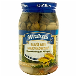 The tasty Maslak (Slippery Jack) is a member of the Boletus family.  They mainly grow under pines.  These marinated mushrooms have a texture and consistency of raw oysters.........but they taste so much better.   If you like Polish dill pickles you'll enj