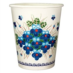 Polish paper cups featuring a traditional Polish stoneware pattern. Perfect way to highlight a Polish floral design at school, home, picnic etc.