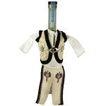 Hand sewn bottle cover of a Polish mountaineer's costume. Features bead work on the vest. The cover is designed to fit half liter and 750ml liquor bottles..