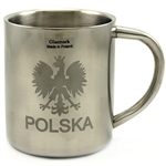 Insulated Stainless Steel Mug with the Polish Eagle on one side and Na Zdrowie! (to your health) Cheers! on the reverse.