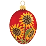 This stunning red egg with sunflowers ornament will make a sunsational addition to your Christmas tree this year! Set against a vibrant red satin finished background, our sunflower design is truly eye-popping.