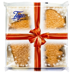 Sugar glazed gingerbread (8 piece) in a variety of Christmas shapes in a see through presentation package.