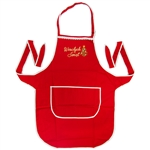 Just what every Polish chef needs: A vibrant red kitchen apron, with the words Wesolych Swiat (Happy Holidays) embroidered in gold on the front panel next to a green Christmas tree. Nice Christmas gift for a Polish friend or family member.