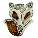 "This is a large adjustable ring. Fits a size 8 comfortably as is but can be expanded or contracted to fit larger or smaller size fingers.  Fox size is approx 1.25"" x 1.25""."