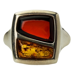 Artistic two stone amber ring.