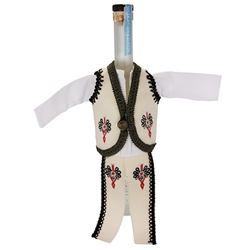 Hand sewn bottle cover of a Polish mountaineer's costume. Trim around the sleeves is black and green around the jacket border. The cover is designed to fit half liter and 750ml liquor bottles.