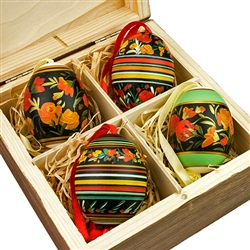 Beautiful hand painted duck eggs with floral designs inside a hand painted wooden box. The duck eggs have been blown empty and come with their own hangers. They come nested inside this beautiful box. Magnetized lid. Hand made so no two eggs or boxes are e