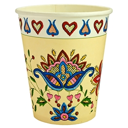 Polish paper cups featuring a traditional Polish paper cut pattern. Perfect way to highlight a Polish floral design at school, home, picnic etc.
