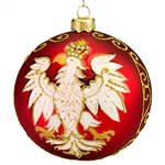 "Celebrate your unique heritage with this distinctive ornament depicting Poland's national symbol. Artfully hand painted by skilled glass artisans in Poland, our distinctive 4"" diameter ornament features a stylized white eagle with golden crown, beak and t"