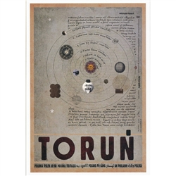 "Toruń, Polish Promotion Poster designed by artist Ryszard Kaja. It has now been turned into a post card size 4.75"" x 6.75"" - 12cm x 17cm."
