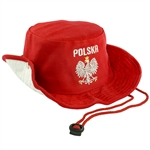Embroidered Silver Polish Eagle Hat. Display the Polish colors of red and white with this handsome looking hat with detailed embroidery work. The front features an embroidered Polish Eagle made of silver thread with a crown and talons of gold colored thre