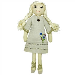 Gorgeous Kashubian cloth doll made in Gdansk. Kasia is made with linen and yarn. Her dress is removable, embroidered with a traditional Kashubian floral design and she is wearing a pendant of genuine amber. Her slippers are hand tied to her feet.
