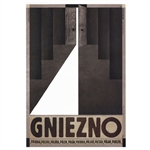 "Gniezno, Polish Promotion Poster designed by artist Ryszard Kaja. It has now been turned into a post card size 4.75"" x 6.75"" - 12cm x 17cm."
