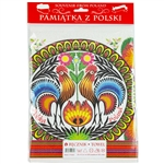"Nice souvenir and packaging from Poland. 100% cotton kitchen towel with a printed rooster floral design. After washing we noticed some print fading which is why these are on sale.  The towel size is approx 12"" x 18"" which is smaller than usual so it could"