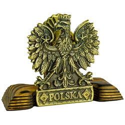 Two sided wood and cast bronze display stand. The Polish Eagle is on one side and Polish Hussar symbols on the other.  Display your Polish heritage with this classic cast piece.  Perfect for holding letters, napkins, etc.
