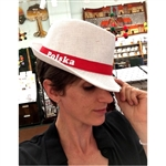 "Straw Polish Hipster Hat. Display the Polish colors of red and white with this handsome looking hat with a tip of your head!  Designed to fit head size 22.75"" max."