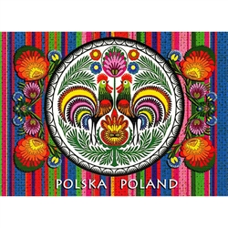 Wycinanki Folklore Print Post Card - Roosters Rule! A beautiful postcard featuring traditional Polish paper cut designs (wycinanki).  Designed By Folk Artist Miroslawa Stefaniak.