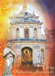 Calendar is published in Czestochowa Poland by the Pauline Fathers featuring scenes from the Jasna Gora monastary in Czestochowa.. Beautiful full color glossy photographs with US layout (Sunday is the first day of the week with Saint's names days listed
