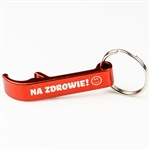 "Light weight aluminum bottle opener key chain combination with Na Zdrowie! printed on one side. Size approx 3"" long x .5"" wide."