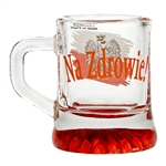 "Set of (6) glass shot glasses, emblazoned on one side with the Polish eagle against a red & white banner, and the famous toast: ""Na Zdrowie"" (To Your Health) on the other side"