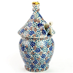 A beautiful honey pot pattern. Set include pot, top and matching dipper. Artist Initialed.