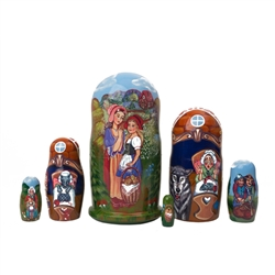 This 6-piece Little Red Riding Hood nesting doll features all the characters from the German fairy tale.  From the red-hooded child to grandma, the wolf, and the huntsman, each appears inside this colorful folk tale as the doll opens, and the story unfold