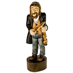 "This is a very tall (17.5"") hand carved and stained figure . Very nicely detailed. Bow is separate and fits into the fiddler's hand."