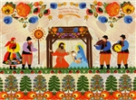 A beautiful glossy Christmas card featuring the Holy Family surrounded by villagers in Polish Lowicz folk custumes below a large wycinanka (paper cut).