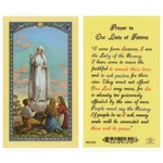 Polish Art Center - Our Lady of Fatima - Holy Card.  Plastic Coated. Picture and prayer is on the front, text is on the back of the card.