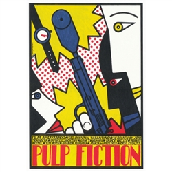 "Pulp Fiction Movie Poster designed by artist Andrzej Krajewski.  It has now been turned into a post card size 4.75"" x 6.75"" - 12cm x 17cm."