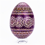 This beautifully designed goose egg is hand painted by master folk artist Krystyna Szkilnik from Opole, Poland. The painting is done in the traditional style from Opole. Signed and dated (2015) by the artist. Eggs are blown and can last for generations.
