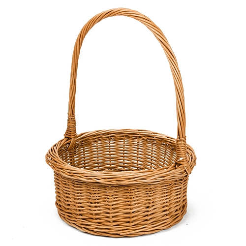 "Polish Art Center - Polish Round Willow Wicker Basket 16.5"" tall"