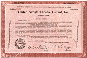 United Artists Theatre Circuit, Inc. Stock Certificate