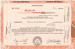 Rocket Jet Engineering Corp. Stock Certificate