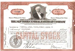The New York Central Railroad Company Stock Certificate