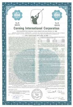 Corning International Corp. Bond Certificate