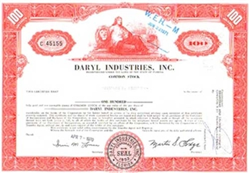 Daryl Industries, Inc. Stock Certificate