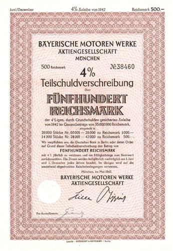 bayerische motoren werke bmw stock certificate. Black Bedroom Furniture Sets. Home Design Ideas