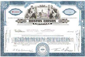 Boston Edison Company Stock Certificate