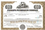 Phillips Petroleum Company Stock Certificate-Green
