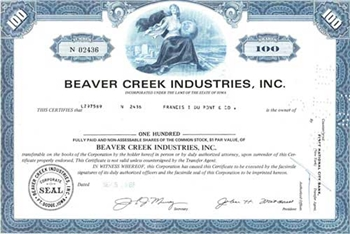 Beaver Creek Industries, Inc. Stock Certificate