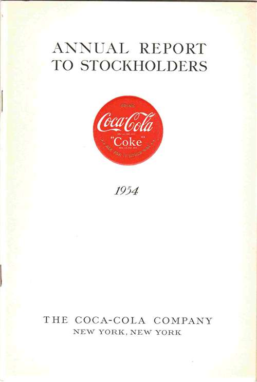 1954 Coca Cola Annual Report