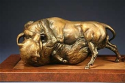 Duality of the Bull and Bear (2007) by Chris Navarro, Bronze Bull and Bear Sculpture