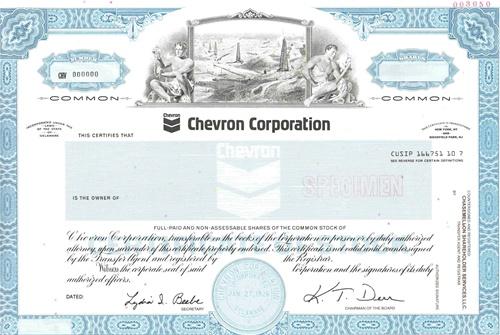 Chevron Corp Specimen Stock Certificate
