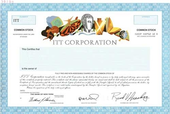 ITT Corporation Specimen Stock Certificate