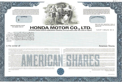 honda motor co ltd specimen stock certificate