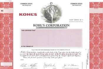 Kohl's Corporation Specimen Stock Certificate